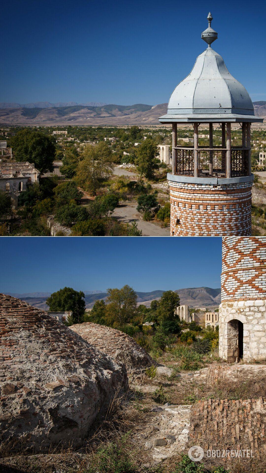 Єдині будівлі, які збереглися в місті, – стара перська мечеть, побудована в кінці XIX століття, і комплекс із ханського палацу і кількох мавзолеїв