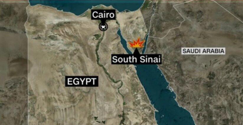 Вертолет упал на Синайском полуострове.