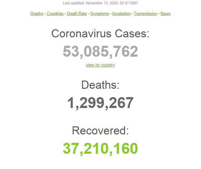 У світі від коронавируса померли майже 1,3 млн осіб: статистика на 13 листопада. оновлюється