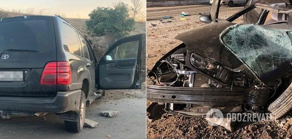 Столкнулись автомобили Toyota Land Cruiser и Lanos