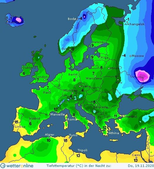 Прогноз погоды на 19 ноября