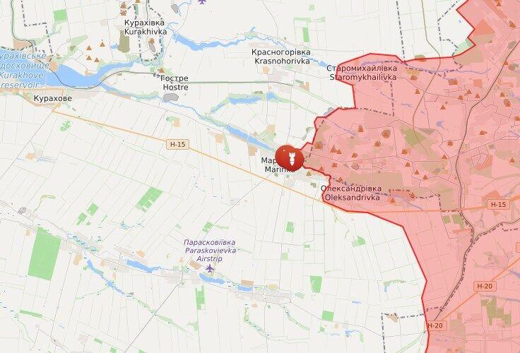 Обстріл зафіксовано в районі Мар'їнки.