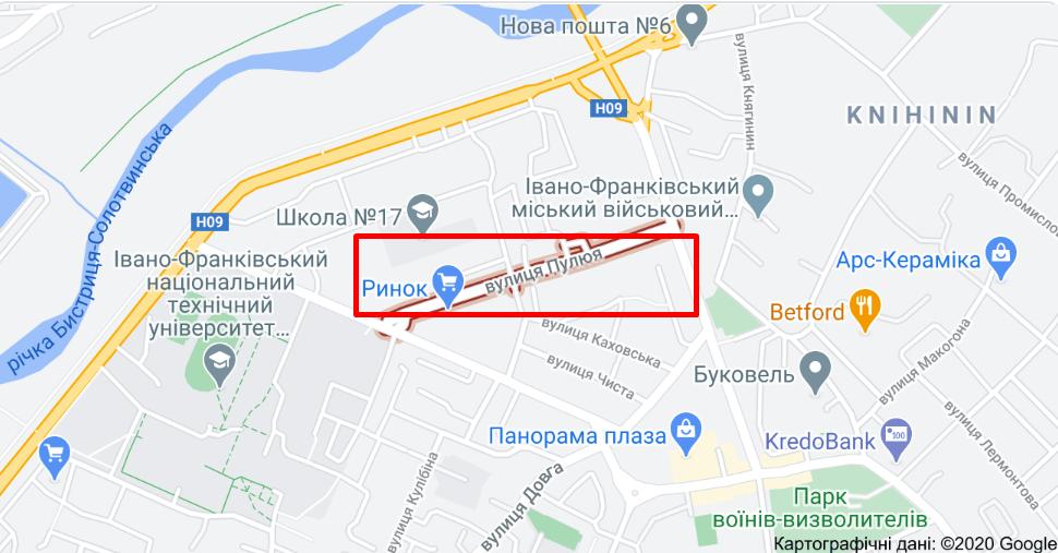 Місце, де трапилася стрілянина в Івано-Франківську