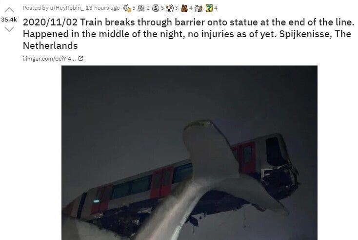 Користувач повідомив про падіння поїзда