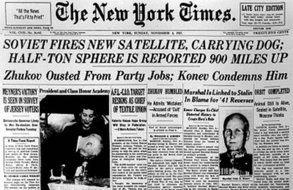 У закордонній пресі політ собаки Лайки в космос став сенсацією
