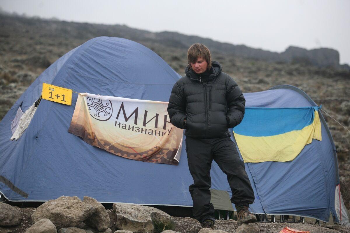 Дмитрий Комаров во время похода на Килиманджаро
