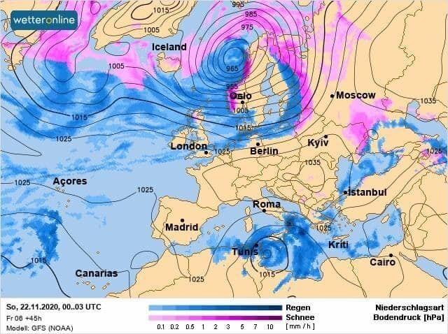 Карта погоды на выходные, 21-22 ноября.