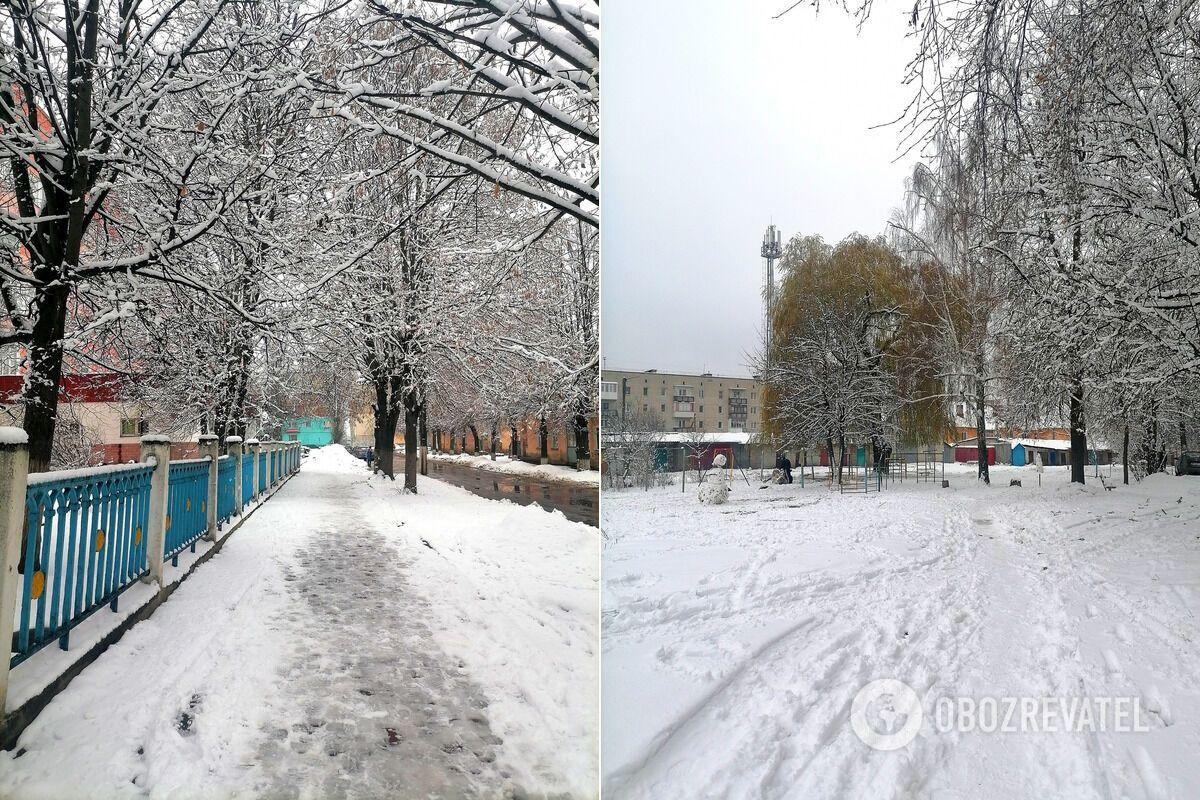 Снег выпал в городе Шостка