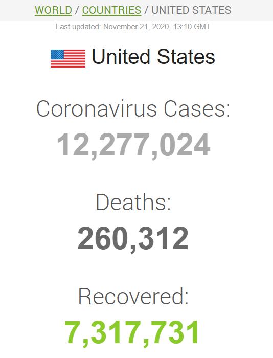 Данные по коронавирусу в США на 21 ноября