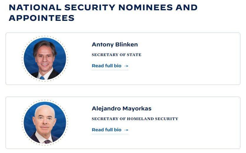 Штаб Байдена назвав прізвища тих, хто очолить ключові посади в його адміністрації.