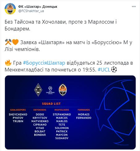 """У заявку """"Шахтаря"""" на матч з """"Боруссією"""" М увійшли 20 футболістів"""