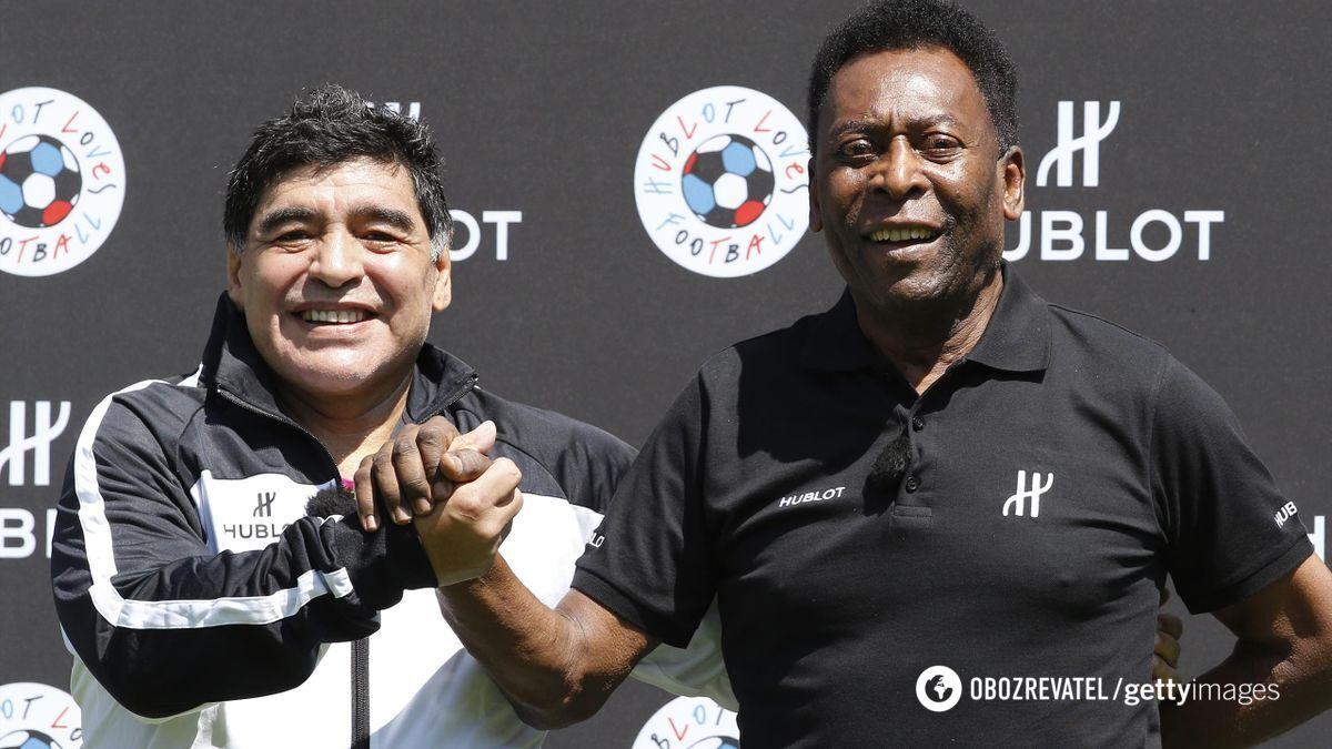 """Марадона и """"король футбола"""" Пеле."""