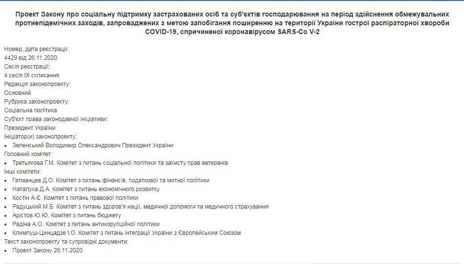 Текст законопроекта появился на сайте Рады