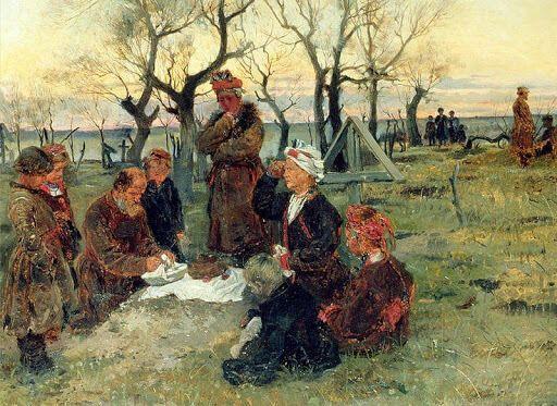 В Дмитриевскую субботу принято посещать могилы умерших родственников. Картина В.Е. Маковского (фрагмент), 1884