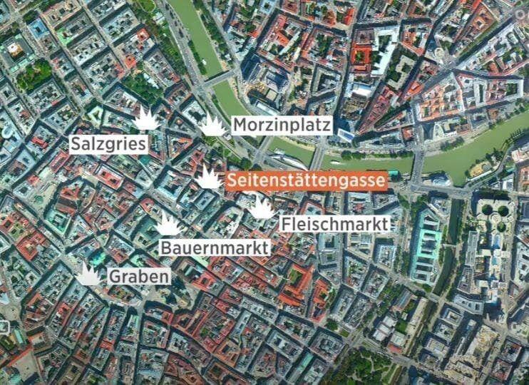Карта террористических атак в Вене.