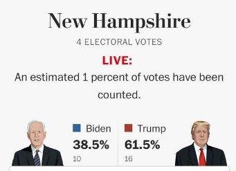Первые результаты подсчета голосов.