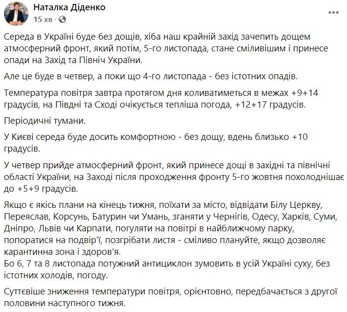 Прогноз погоди в Україні на 4 листопада