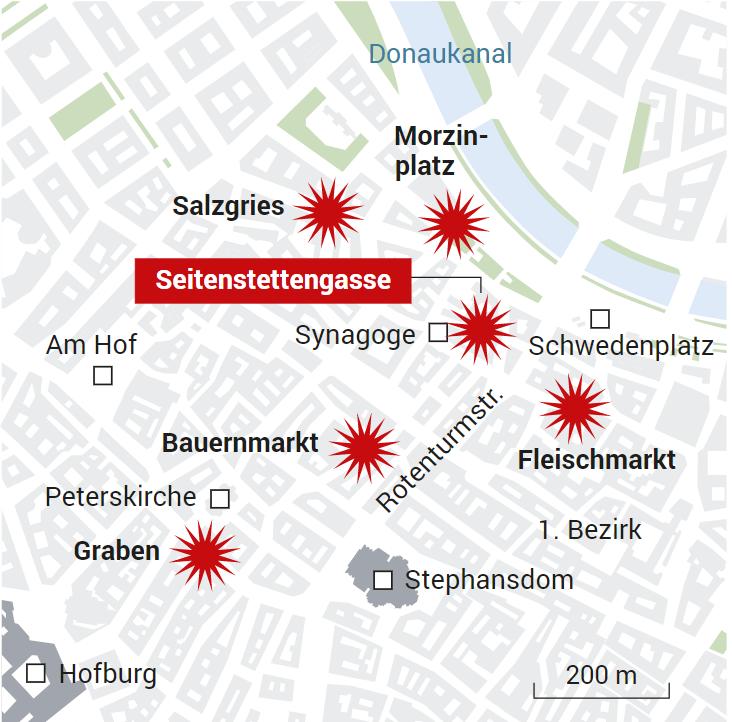 Карта атак терористів в австрійській столиці