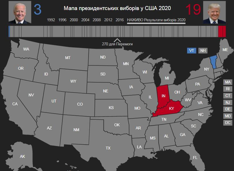 """Прогнозированные результаты (по 3 штатам) на карте от """"Голоса Америки"""""""