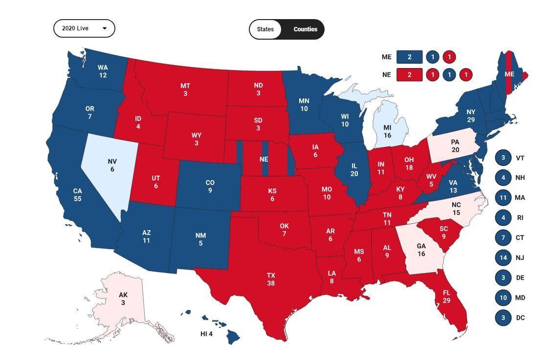 Подсчет голосов выборщиков по штатам США.