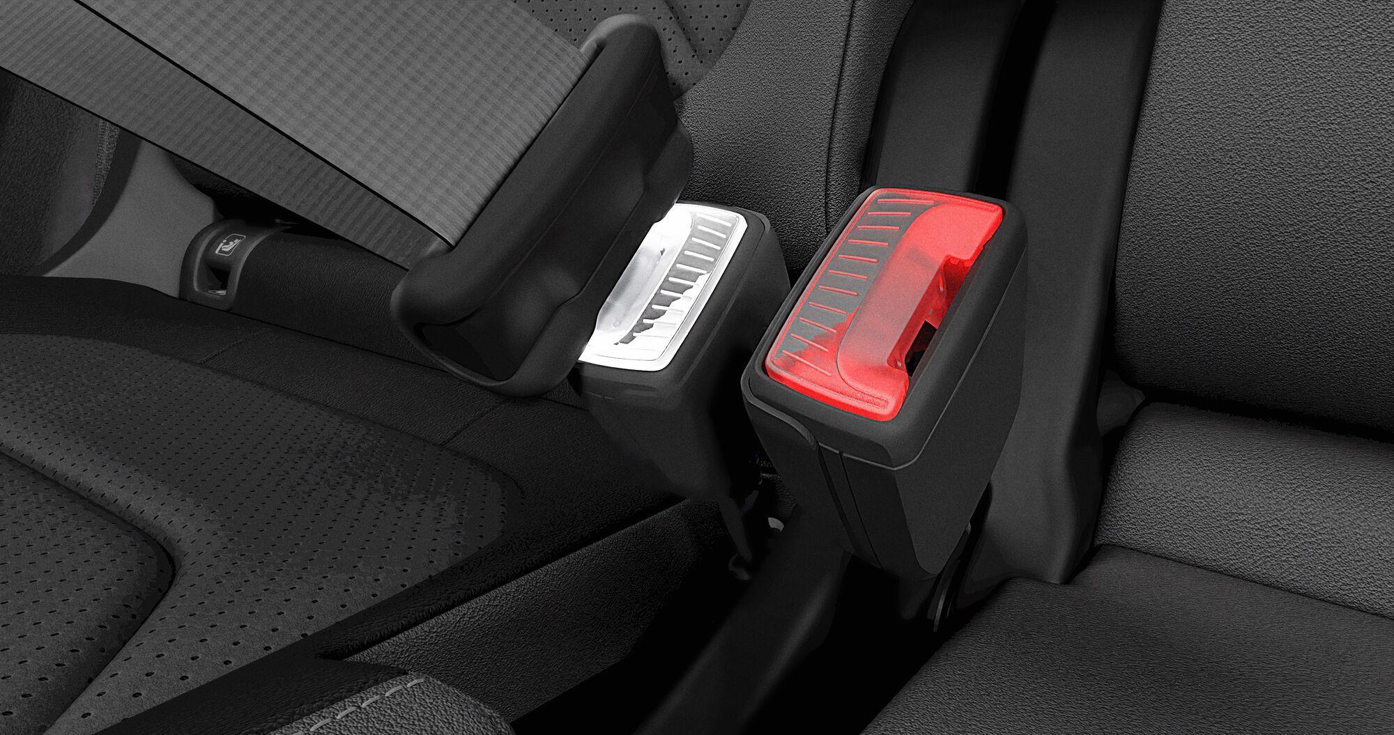 Фіксатор світиться червоним або білим світлом в залежності від того, чи пристебнутий пасажир, чи ні