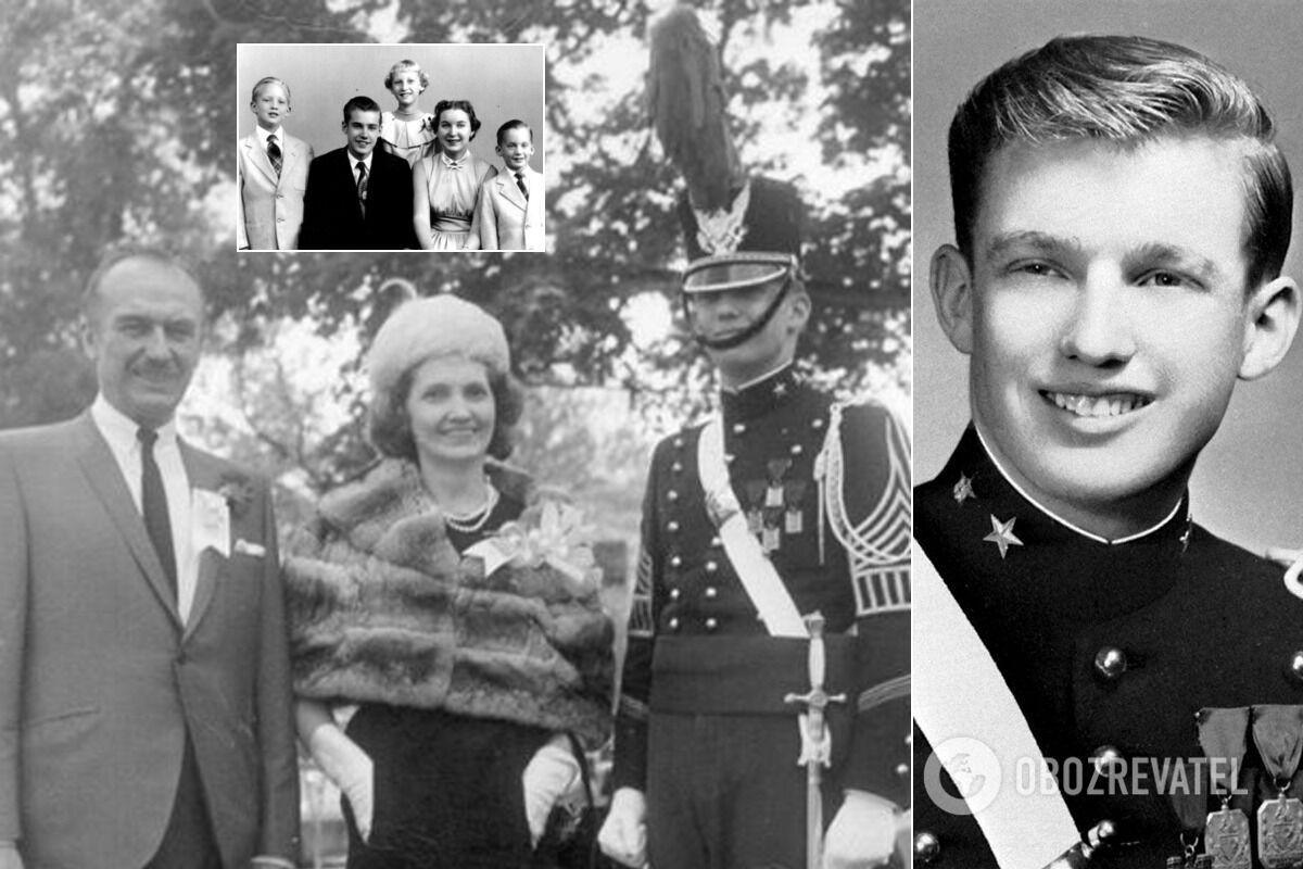 Дональд Трамп (крайний слева) с братьями и сестрами, а также родителями на выпуске из Нью-Йоркской военной академии; 18-летний Трамп