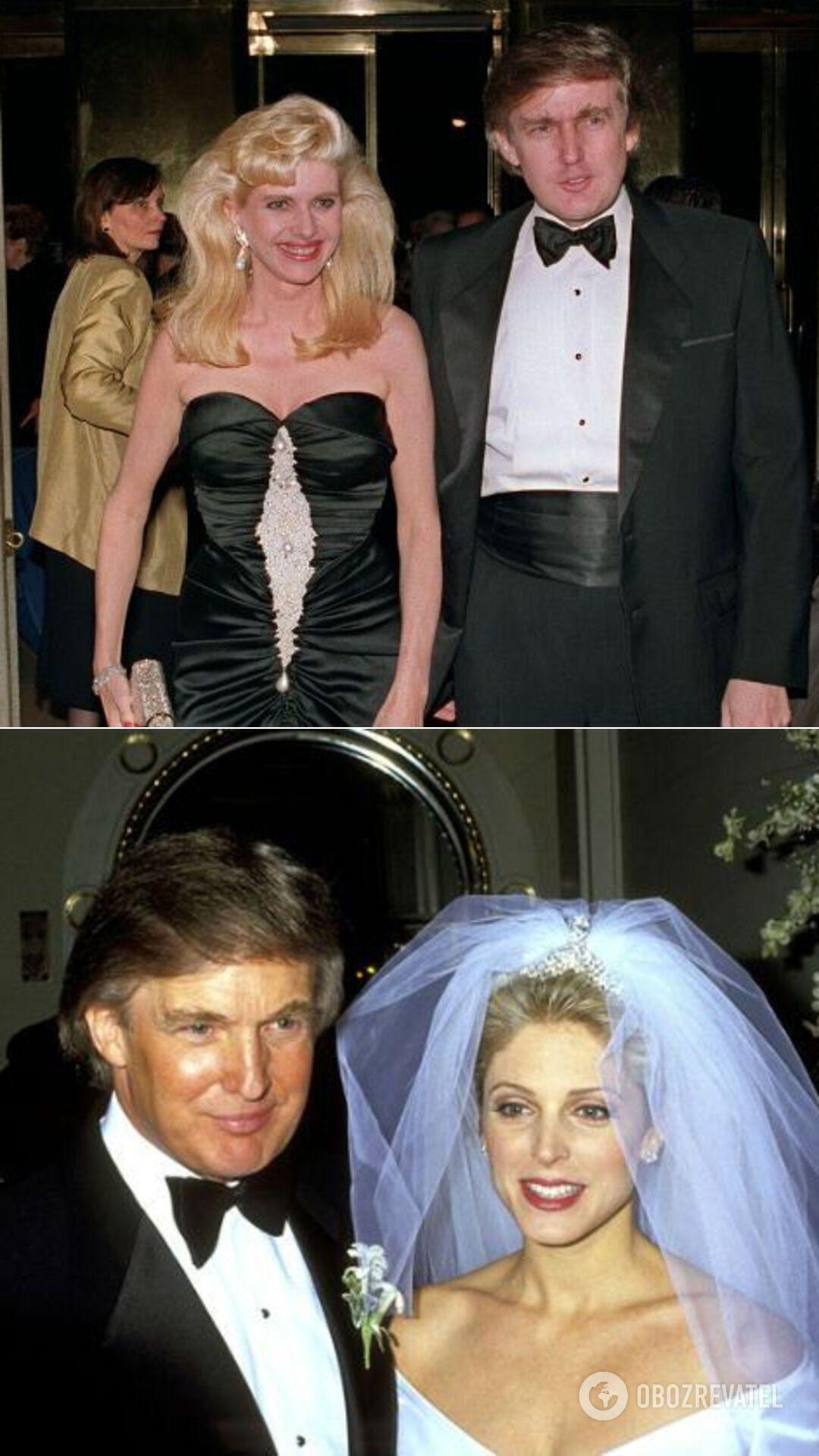 Дональд Трамп с первой женой Иванкой;  свадьба Дональда Трампа и Марлы Мэйплз (1993 год)