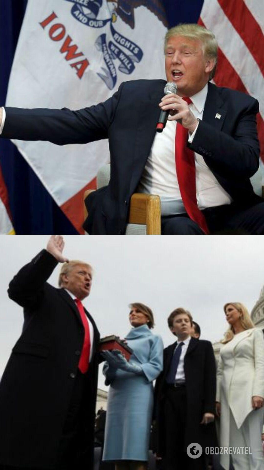 Трамп во время предвыборной кампании 2016-го и на инаугурации