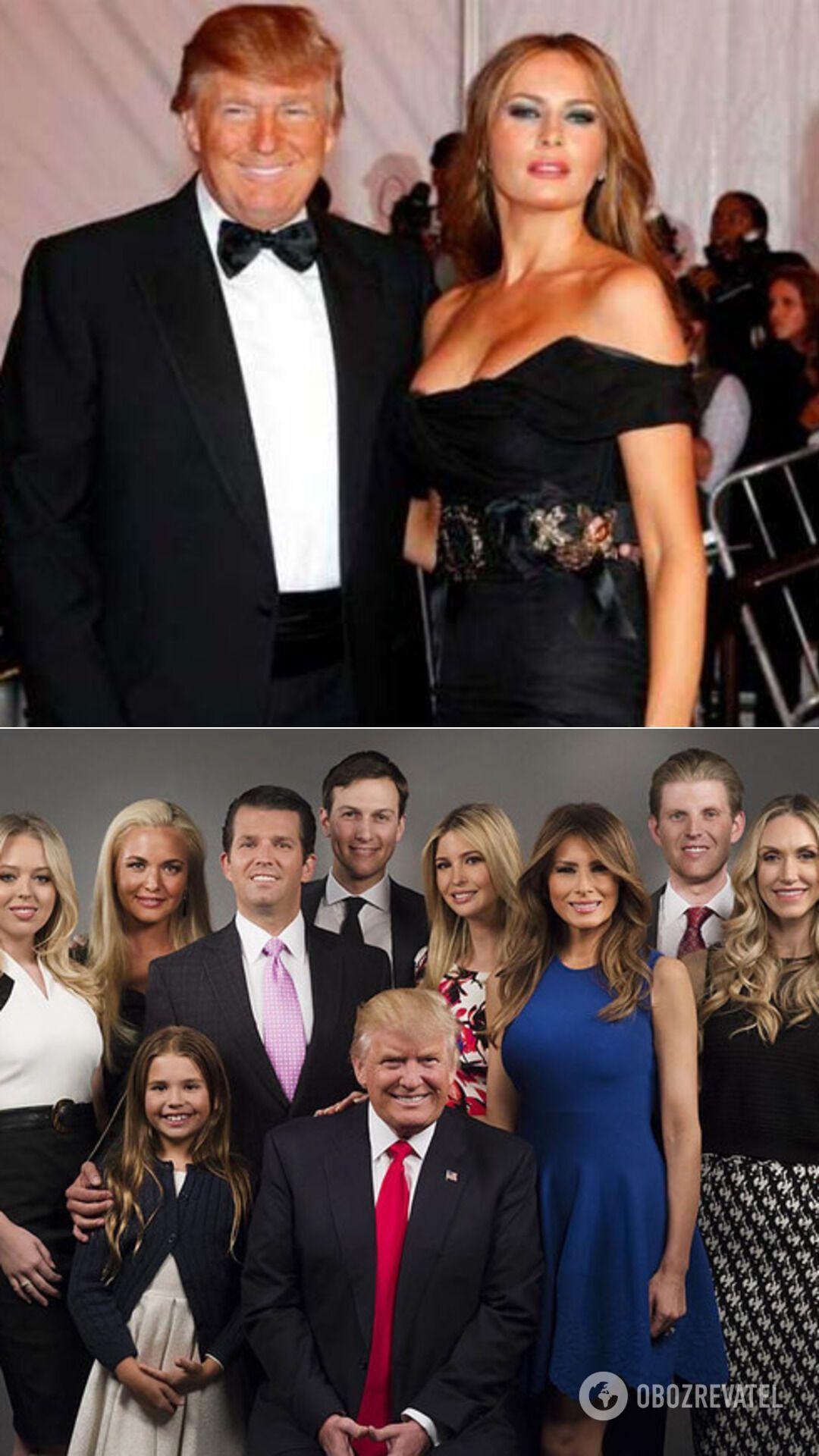 Дональд Трамп и Мелани Кнаусс, а также с детьми и внуками