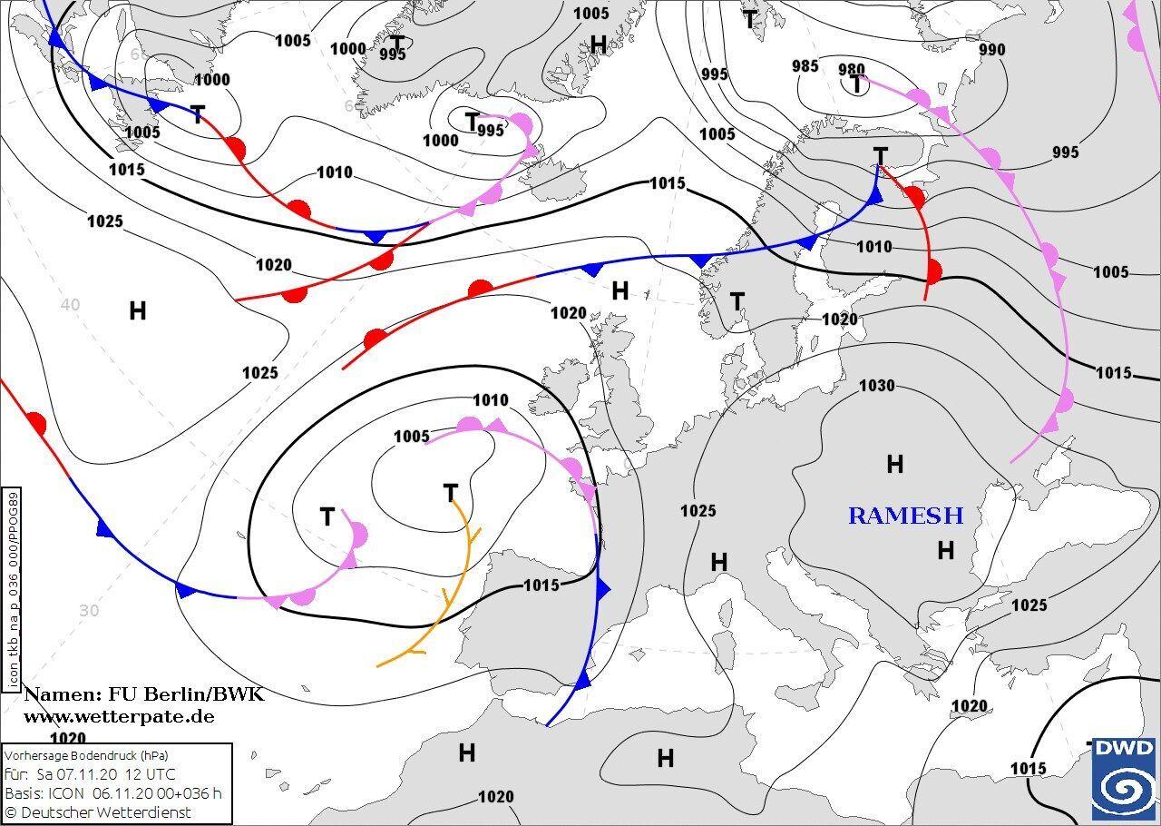 Карта погоды в Украине 7-8 ноября в Украине