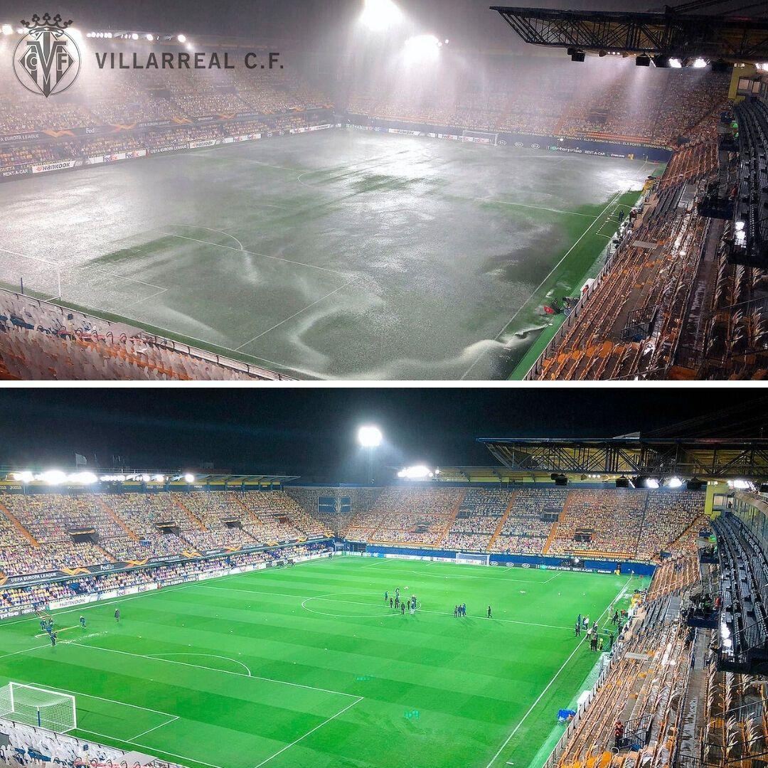 "Стадион ""Эстадио де ла Серамика"" залило водой"
