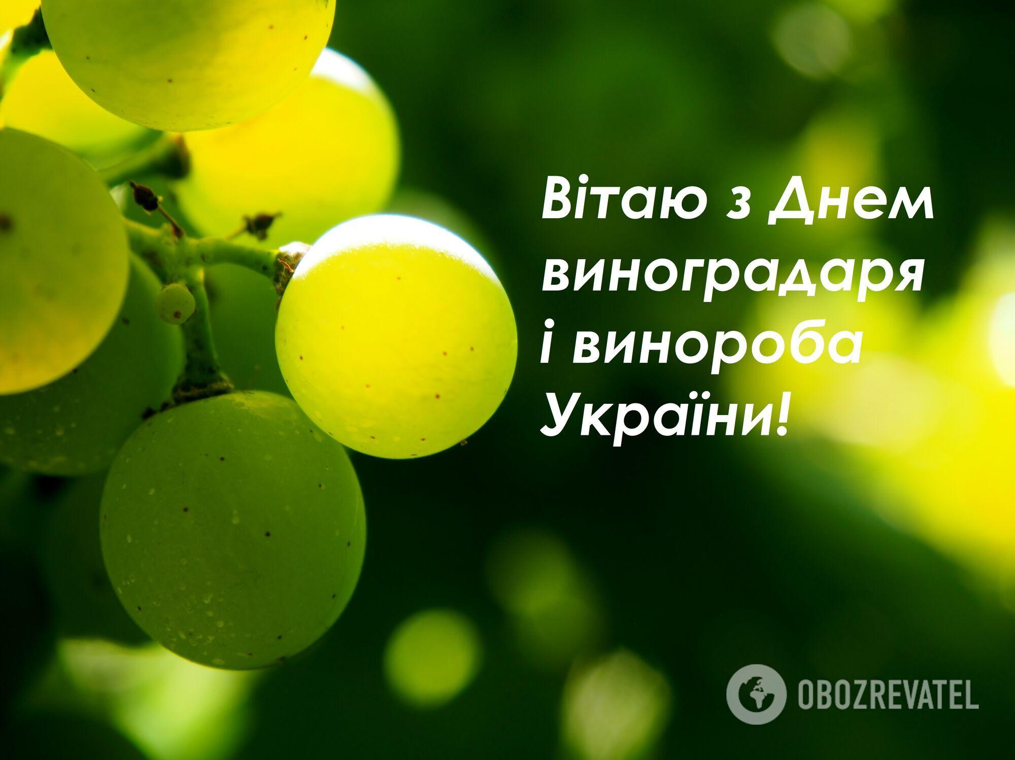 Открытка в День виноградаря и винодела