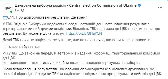 ЦИК – о результатах местных выборов