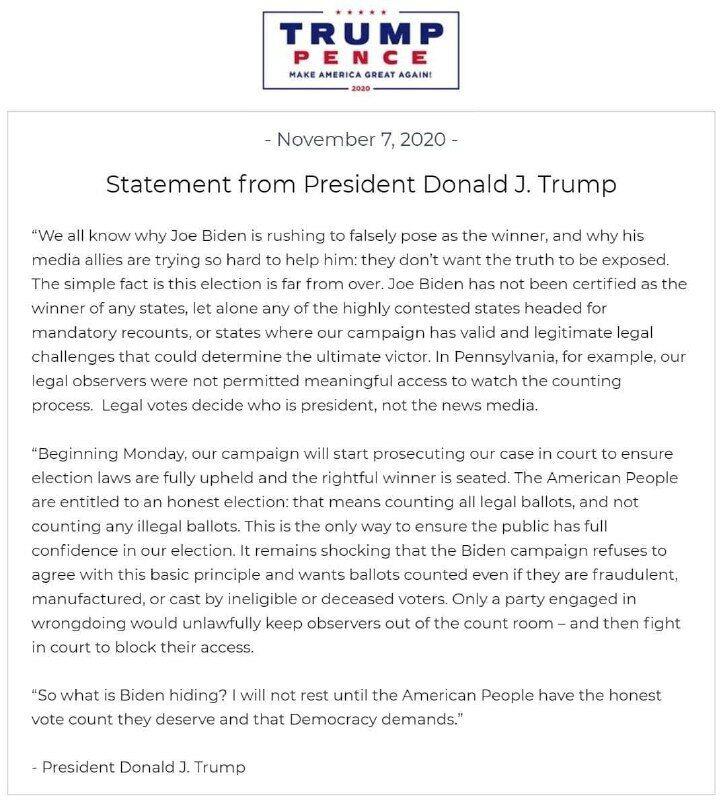 Текст заявления Дональда Трампа