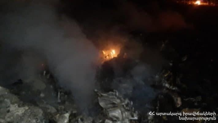 Место падения российского вертолета в Армении.