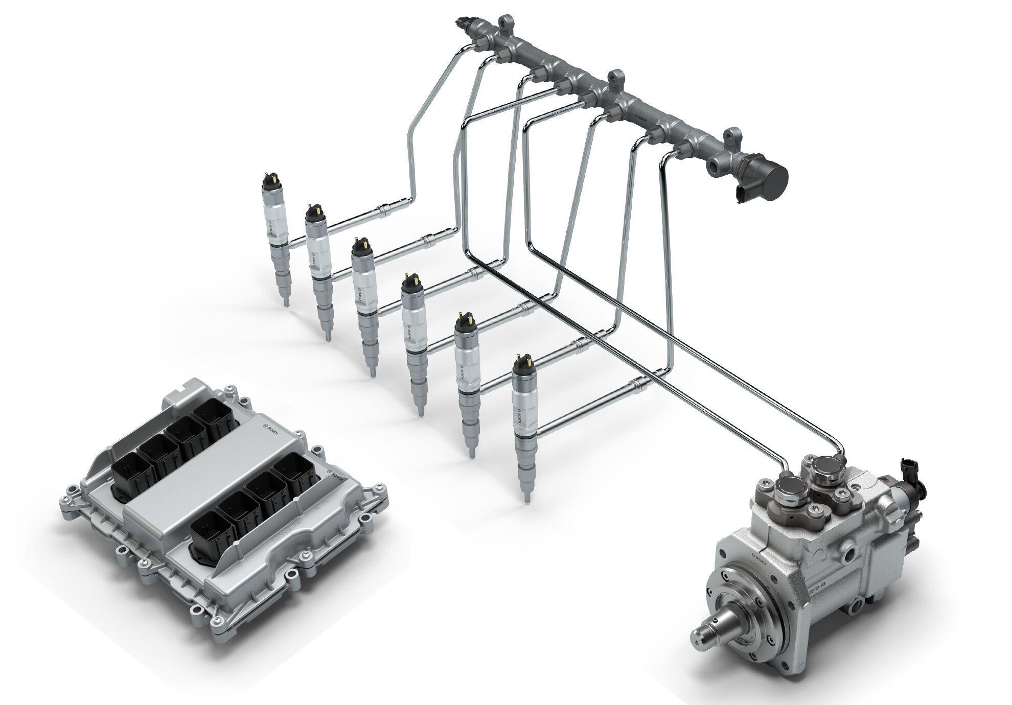 Bosch Common Rail може застосовуватися під час тиску у системі від 1800 до 2500 бар та бути адаптованою для двигунів із різною кількістю циліндрів (до 8)