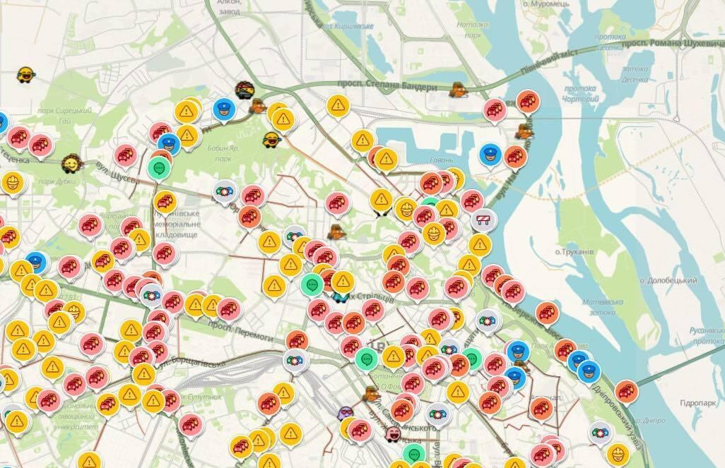 Затори й аварійні ситуації в столиці