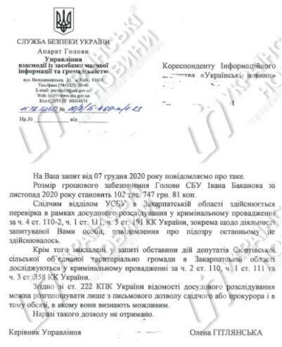 Ответ СБУ по действиям депутатов на Закарпатье
