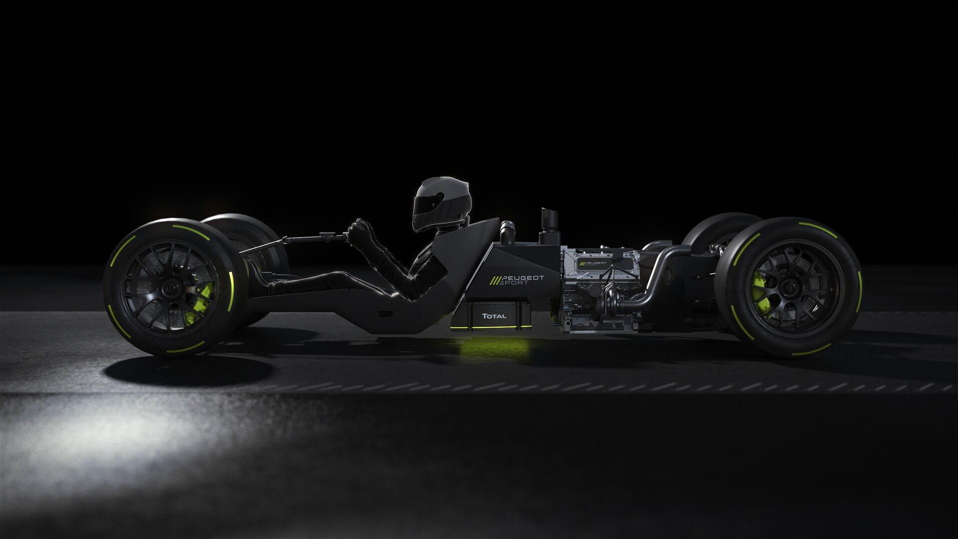 ДВС расположен по центру болида за спиной гонщика, а электромотор – спереди