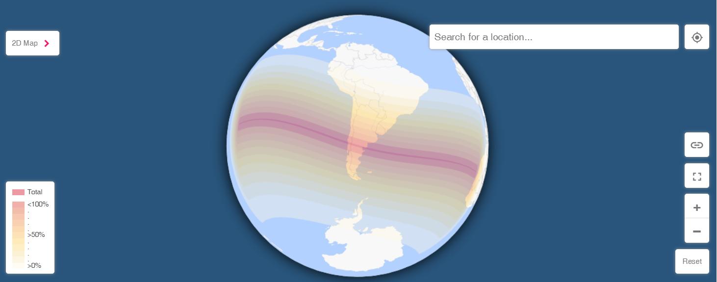 Визуализация полного затмения Солнца 14 декабря 2020 года