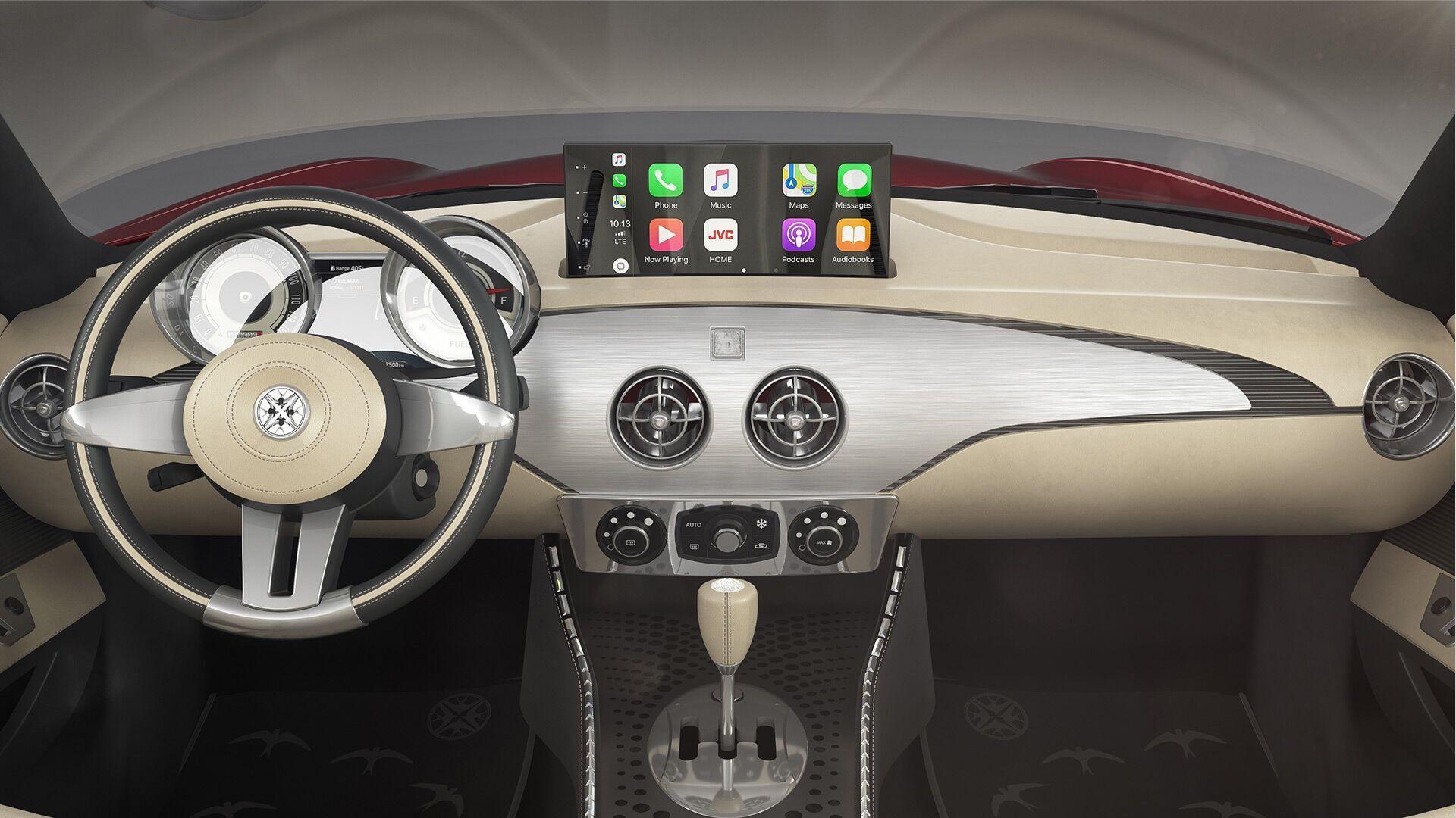 Незважаючи на стиль ретро, автомобіль отримав сучасну інфо-розважальну систему з підтримкою смартфонів та доступом в інтернет