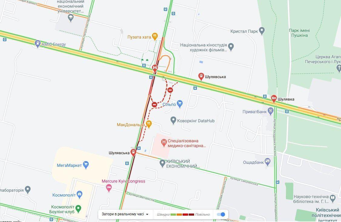 Движение на Шулявском мосту по состоянию на 21:50
