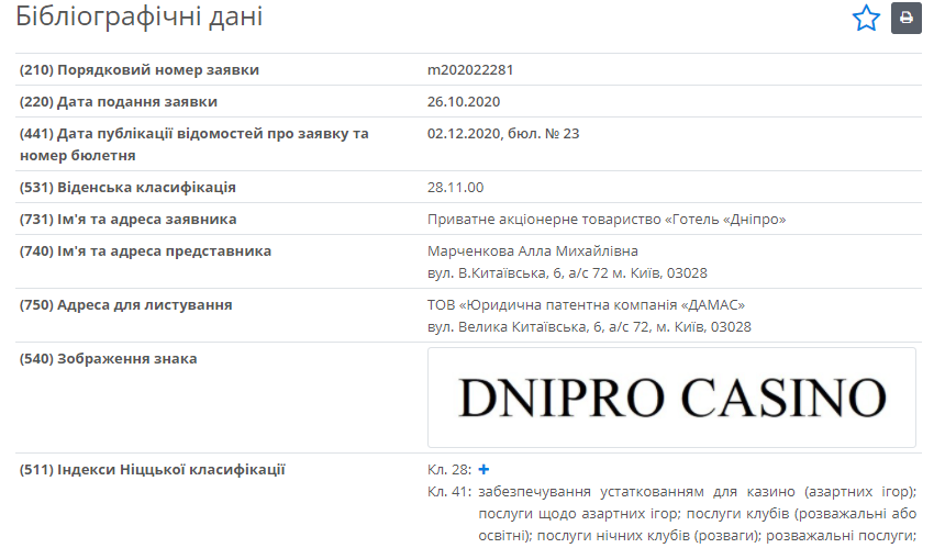"Зарегистрирована торговая марка ""Dnipro Casino"""