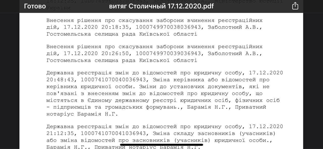 Документ про скасування заборони на вчинення реєстраційних дій
