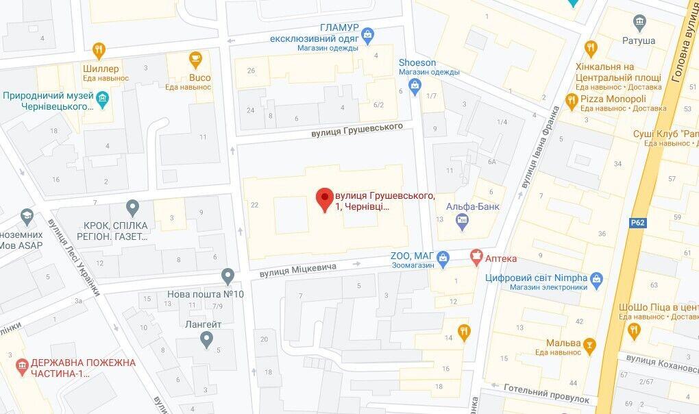 Інцидент стався на вулиці Грушевського, 1