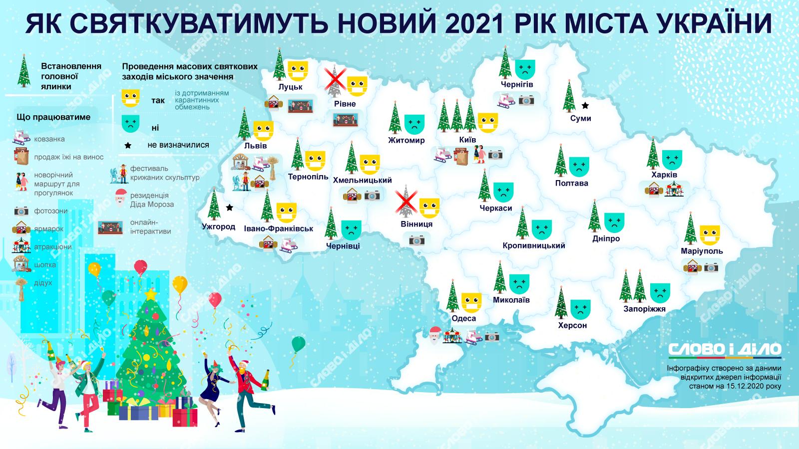 В большинстве украинских областных центров к празднику будет установлена новогодняя елка,