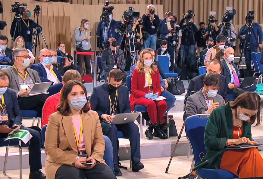 Учасники пресконференції Володимира Путіна.