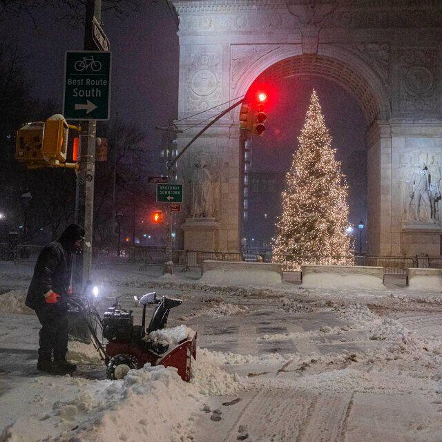 Снег в городе Нью-Йорк