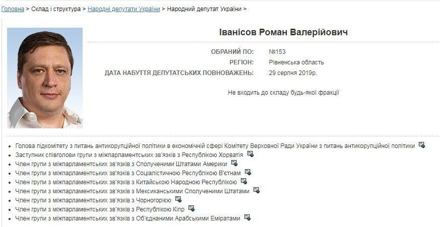 Роман Иванисов все еще является нардепом.