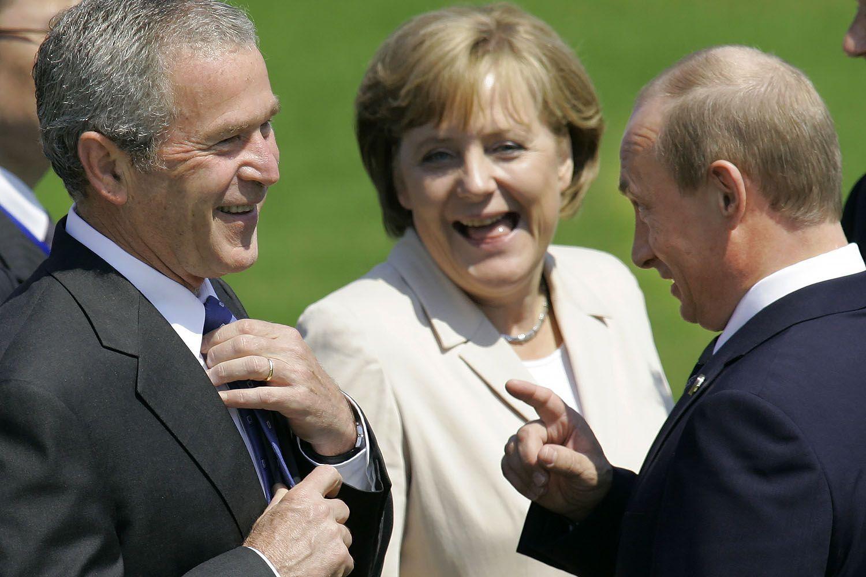 Ангела Меркель, президент США Джордж Буш-молодший і президент Росії Володимир Путін, саміт G8, Хайлігендамм, 2007 рік